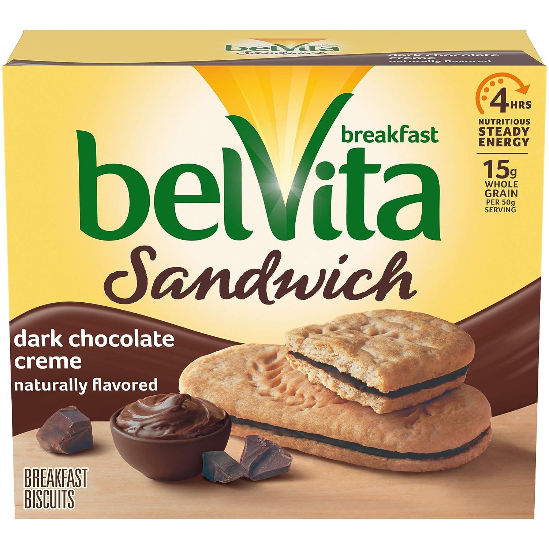 belVita Sandwich Dark Chocolate Creme Breakfast Biscuits, 5 Packs (2 Sandwiches Per Pack)