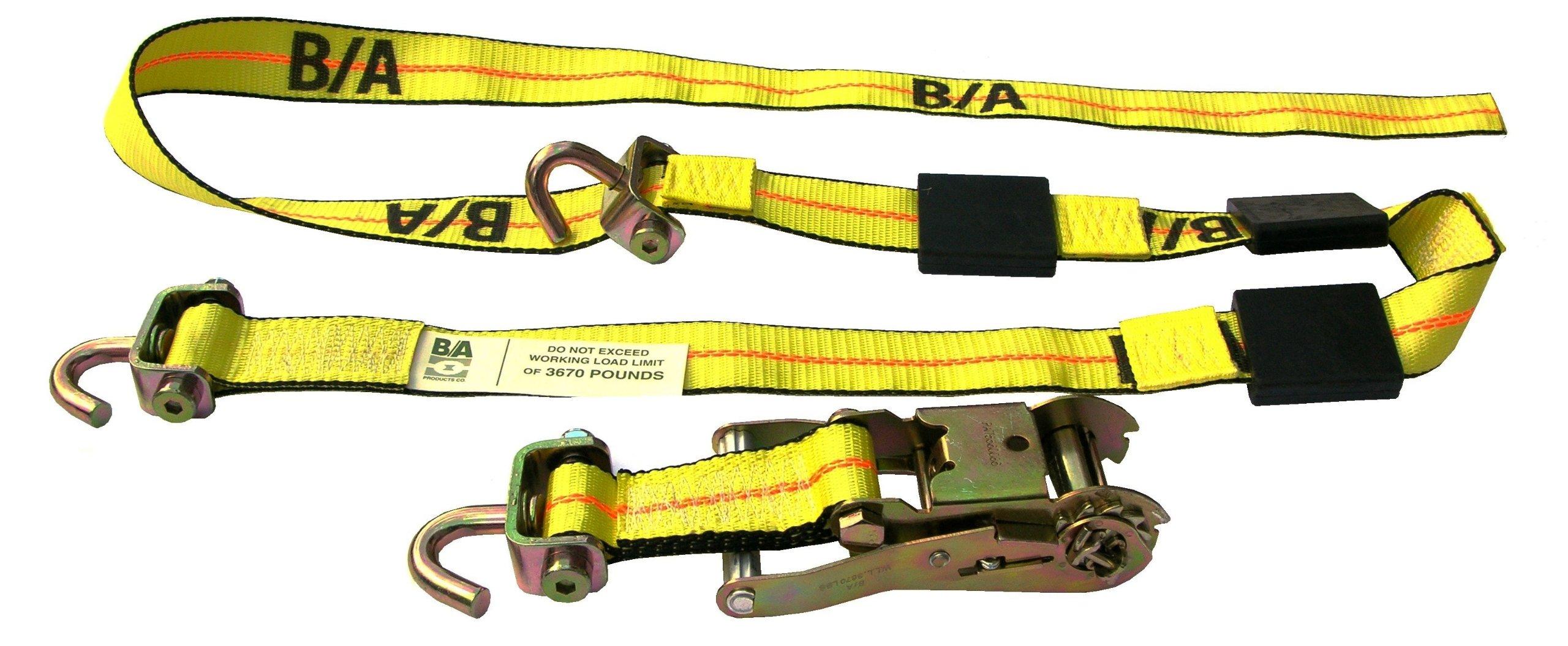 BA Products BA-SJR100-x4, Set of 4 Car Hauler, Transport Trailer Tie Down Straps & Ratchets