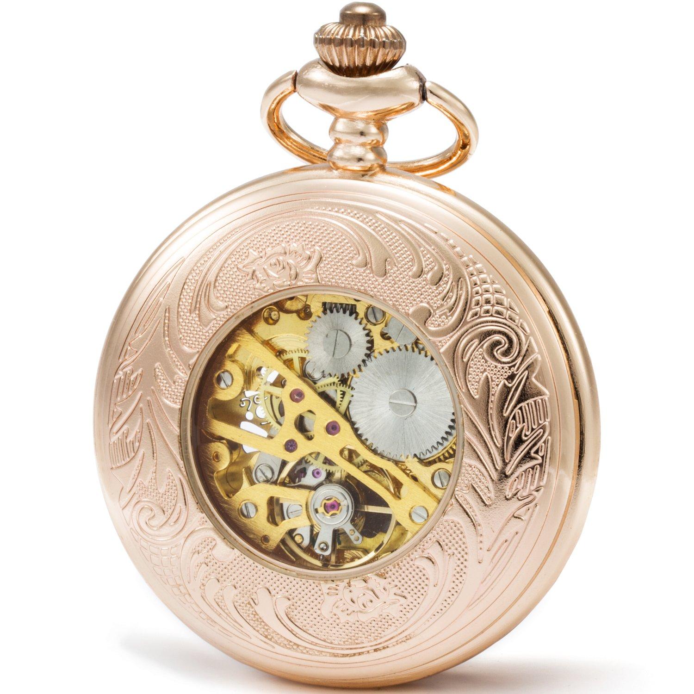 SEWOR Mens Dress Gentleman Vintage Magnifier Skeleton Pocket Watch Mechanical Hand Wind with Great Gift Box (Rose Gold Case)