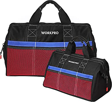 Workpro 2 Piece 13 Inch 18 Inch Tool Bag Combo Zip Top Wide Open Mouth Storage By Workpro Amazon Co Uk Diy Tools