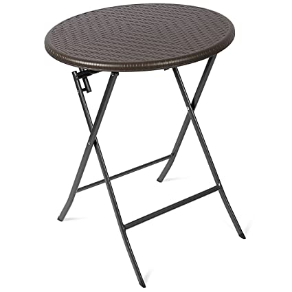 vidaXL Balcony Table Poly Rattan Black Outdoor Side Coffee Table Plant Stand