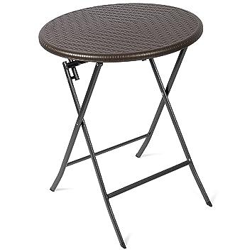 Vanage - Table d\'appoint - Table de Jardin ronde en Rotin ...