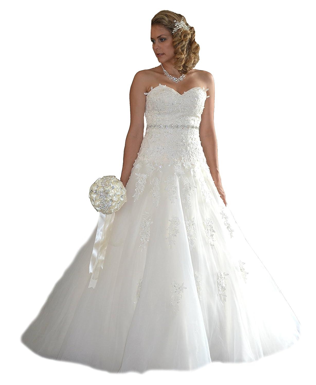 NEU Brautkleid Schleppe Hochzeitskleid Gr. 34 - 48 Spitze Braut ...