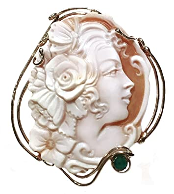 Amazon cameo pendant master carved genuine sardonyx shell cameo pendant master carved genuine sardonyx shell emerald accent sterling silver italian aloadofball Image collections