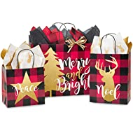 Gift Bags, Assorted Sizes, Bundled with Coordinating Tissue Paper and Raffia Ribbon (Christmas Buffalo Plaid)