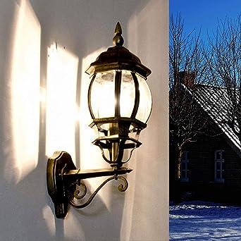Aplique de pared antiguo Brest hacia arriba E27 60W 230V IP43 lámpara de pared jardín exterior jardín: Amazon.es: Iluminación