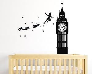 e-Graphic Design Inc Peter Pan Tinkerbell Neverland Walt Disney Big Ben - Baby Girl Boy Unisex Room - Mural Wall Decal Sticker for Home Car Laptop (Wide 22