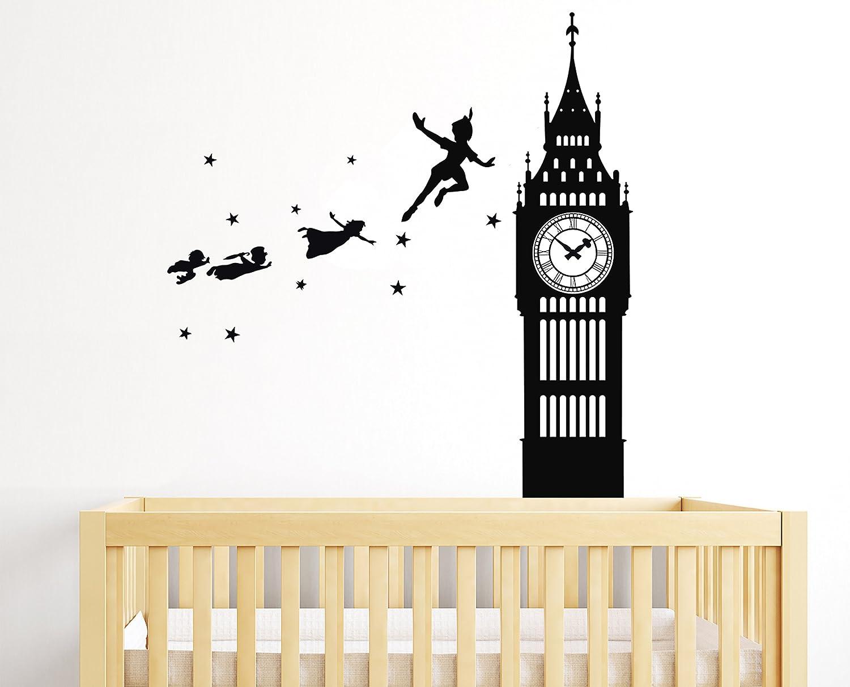84aacb3019a0 Amazon.com: Peter Pan Tinkerbell Neverland Walt Disney Big Ben - Baby Girl  Boy Unisex Room - Mural Wall Decal Sticker For Home Car Laptop (Wide 22