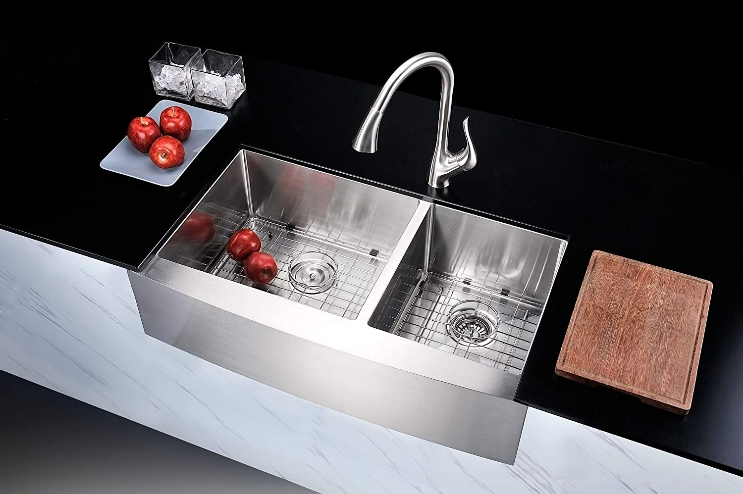 Anzzi Elysian 36 Farmhouse Stainless Steel 60 40 Double Bowl Kitchen Sink In Brushed Satin With Strainer 18 Gauge Large Dual Deep Soak Basin Commercial Utility Prep Work Station K Az3620 3a Amazon Com
