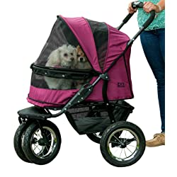 Pet Gear No-Zip Double Pet Stroller -  90lbs Max Weight for Large Dogs