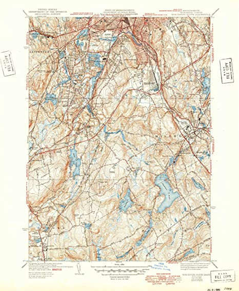Amazon.com : YellowMaps Worcester South MA topo map, 1:31680 ... on map of metro boston ma, map of streets north adams, map of mass coastline, map of so shore ma, map of ri and ma,