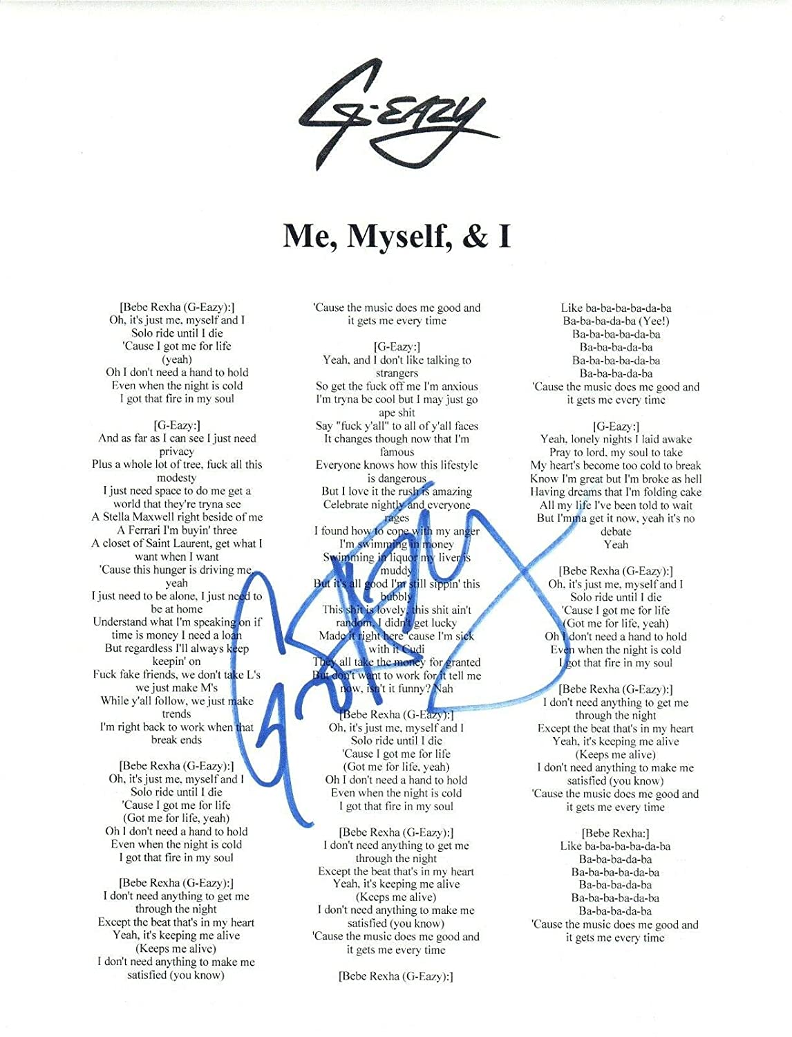 G-EAZY Signed Autographed ME, MYSELF & I Song Lyric Sheet COA at