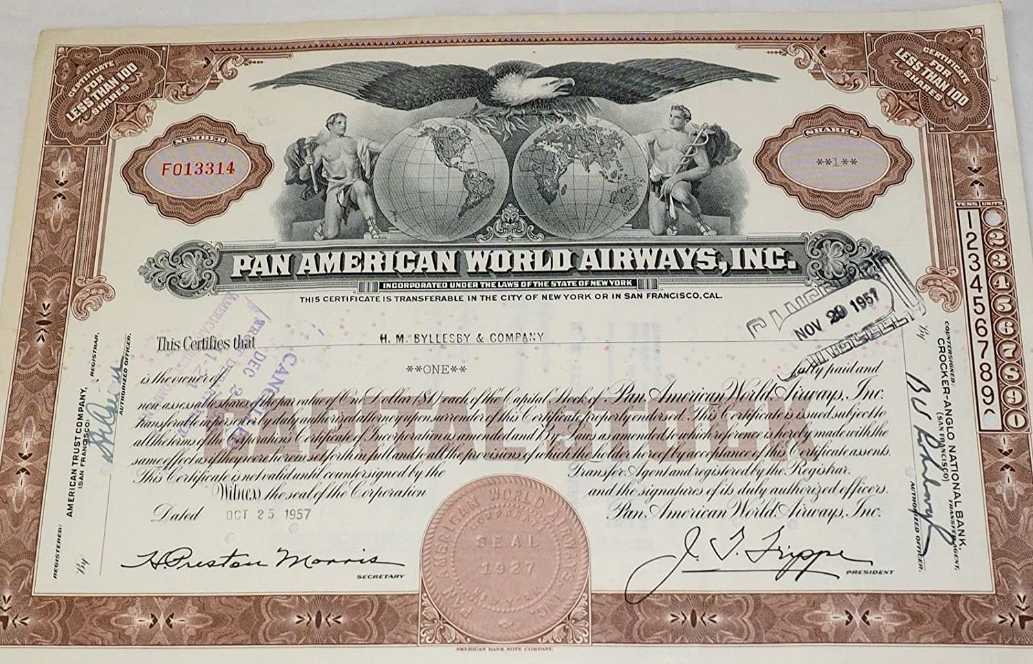 stock certificate 100 shares aviation collectible Pan Am Pan American Airlines