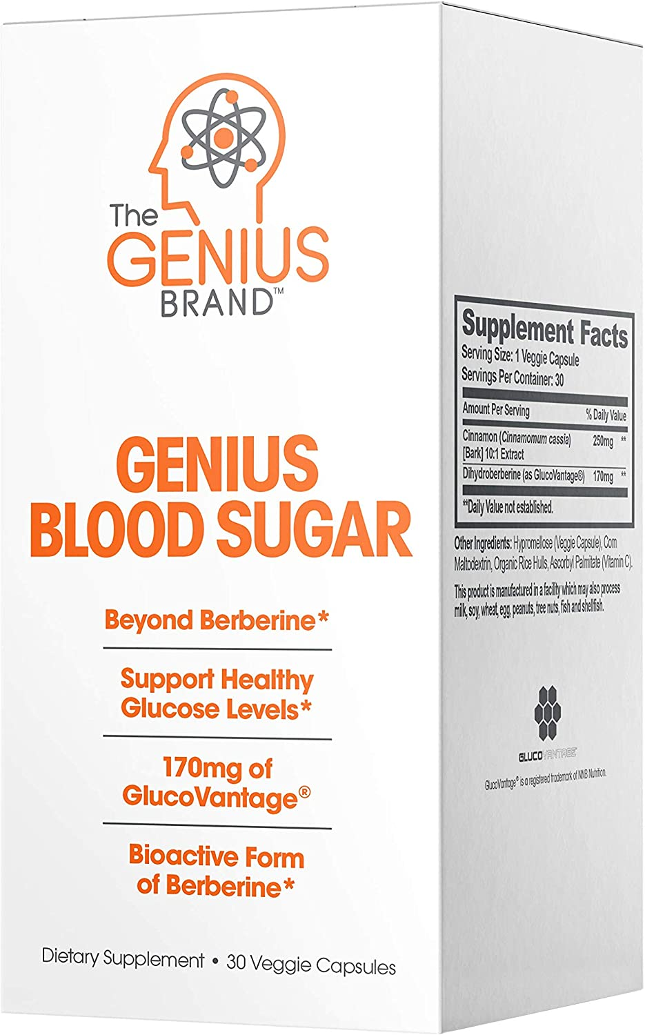 Genius Blood Sugar Support Capsules - Super Berberine Extract w/Organic Cassia Cinnamon for Better Insulin Sensitivity & Reduced Glucose | Keto Supplement 400MG (Berberine HCI + Cinnamon) 30 Pills