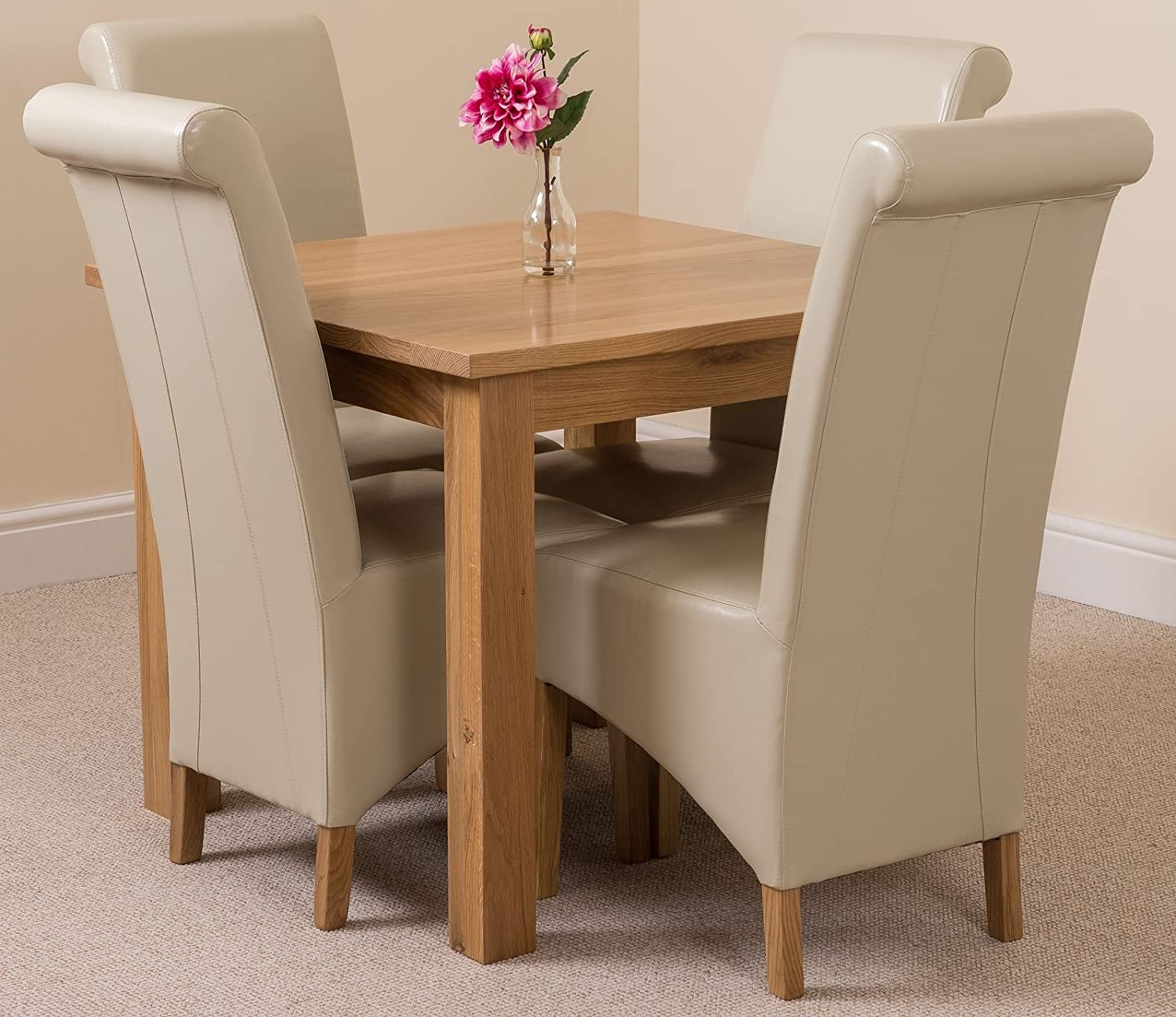 Oslo Solid Oak Square  90 cm x 90 cm  Dining Room Table   4 Montana Leather  Chairs  Amazon co uk  Kitchen   HomeOslo Solid Oak Square  90 cm x 90 cm  Dining Room Table   4  . Oak Dining Table Sets Uk. Home Design Ideas