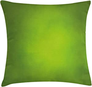 """Ambesonne Sage Throw Pillow Cushion Cover, Abstract Green Background with Blurred Color Ecology Growth Woodland Soft Smooth Look, Decorative Square Accent Pillow Case, 18"""" X 18"""", Lime Green"""