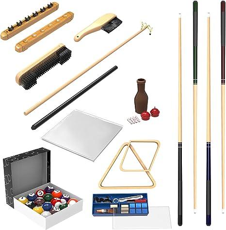 Trademark Gameroom - Kit de 32 Piezas de Accesorios para Mesa de Billar de Bolas, Tacos, reparación de Palos, Estante Romano, Cepillo de Mesa, Cubierta de Mesa, Botella de Tally: Amazon.es: Deportes
