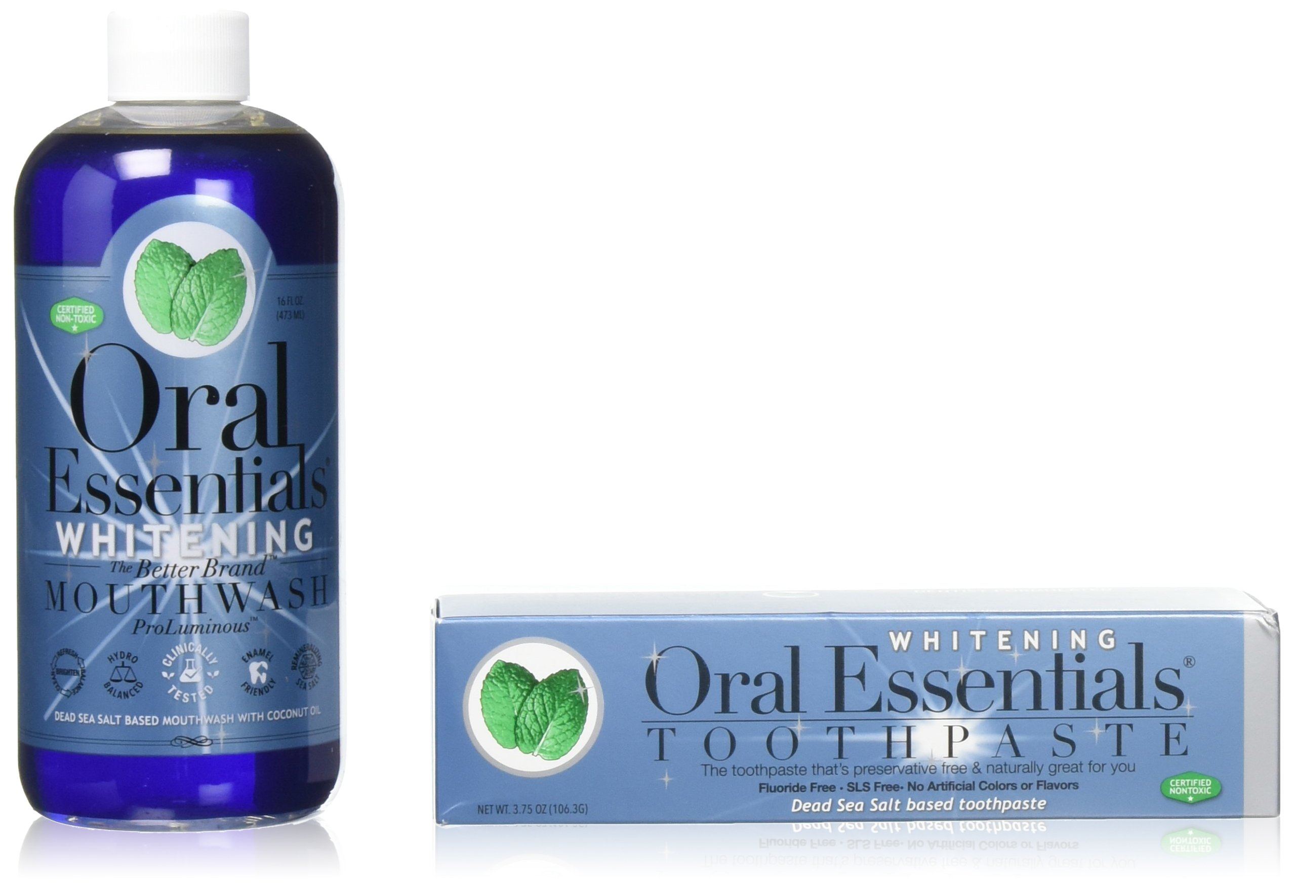 Oral Essentials Teeth Whitening Mouthwash (16 Oz) & Toothpaste (3.5 Oz) Combo
