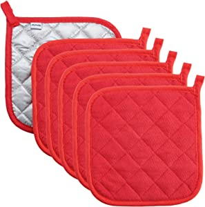 joyhalo 6 Pack 8 x 8 Inches Pot Holders for Kitchen Heat Resistant Red Pot Holders Sets Oven Hot Pads Terry Cloth Pot Holders for Cooking Baking