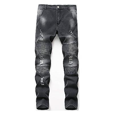 BellasTe Men's Biker Skinny Fashion Slim Fit Denim Jeans with Holes at Men's Clothing store