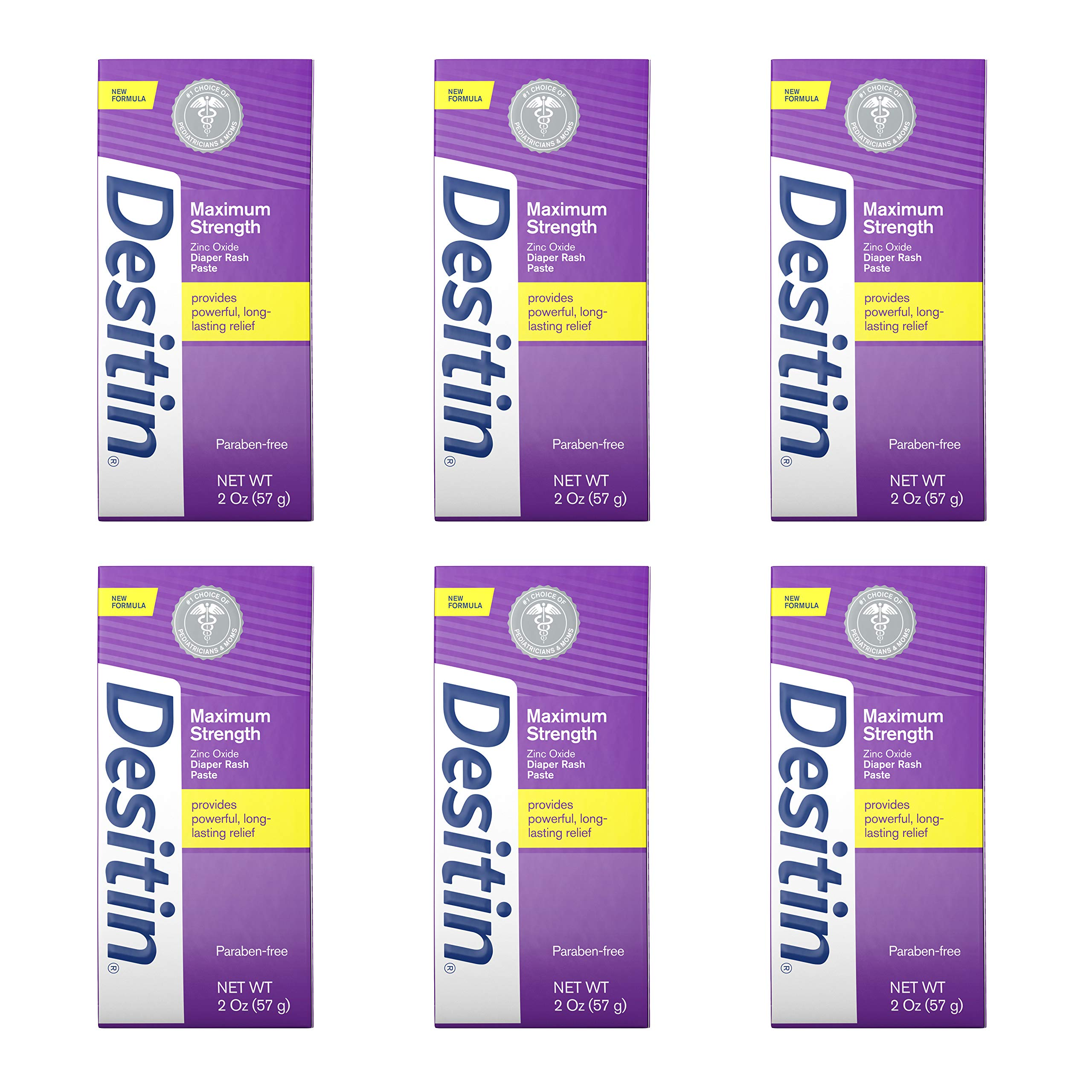 Desitin Maximum Strength Baby Diaper Rash Cream with 40% Zinc Oxide, Travel Size, 2 Ounce (Pack of 6) by Desitin