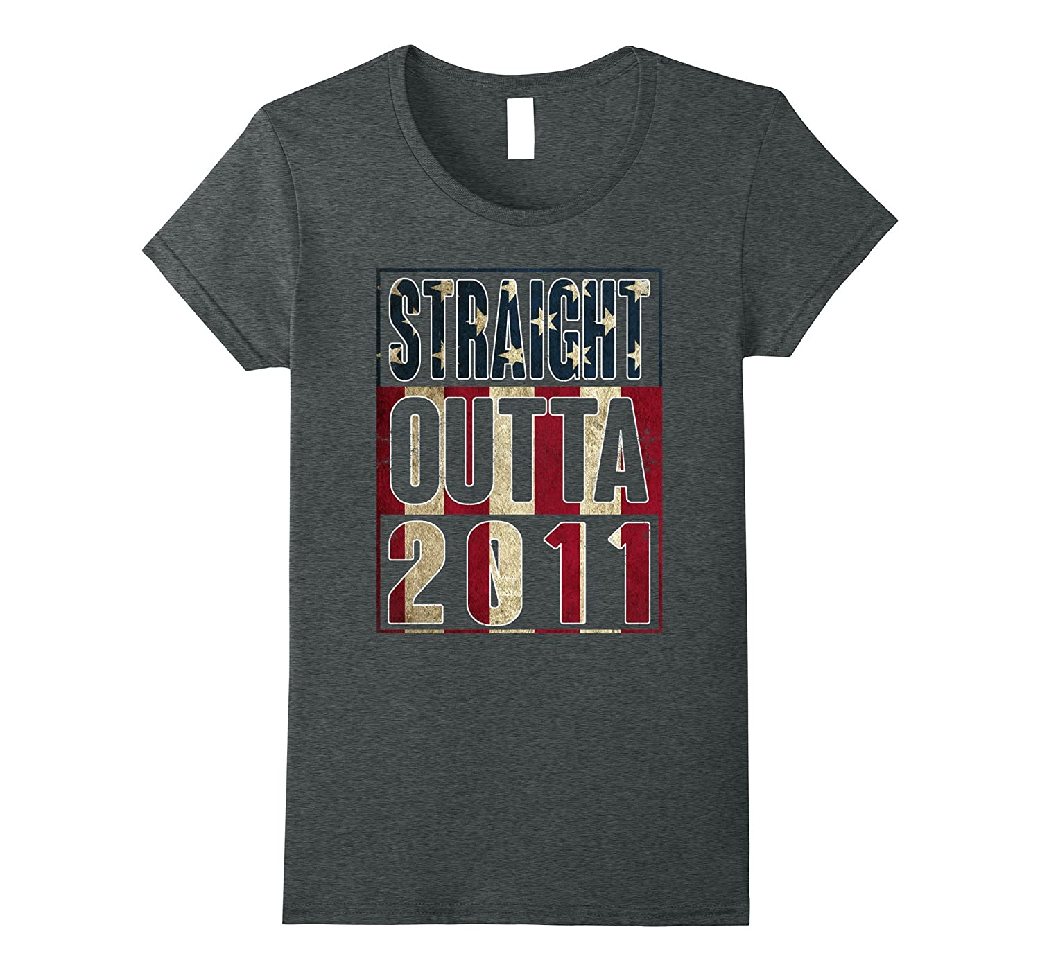 6th Birthday Straight outta 2011 American flag T Shirt