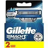 Gillette Mach3 Turbo Men's Razor Blades, 2 Refills