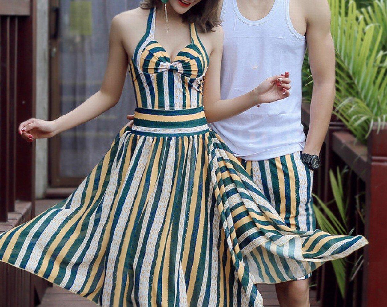 HOMEE Couples de Maillots de Bain Femme Poitrine en Acier Plaque Recueillir Split Robe Bikini Trois Ensembles de Pantalons de Plage Maillot de Bain,Vert,XL