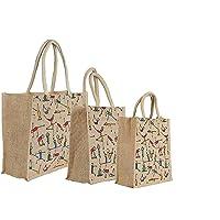 RangTeq Unisex Canvas Jute Yoga Print Beige Bag with top Zipper - Combo of 3
