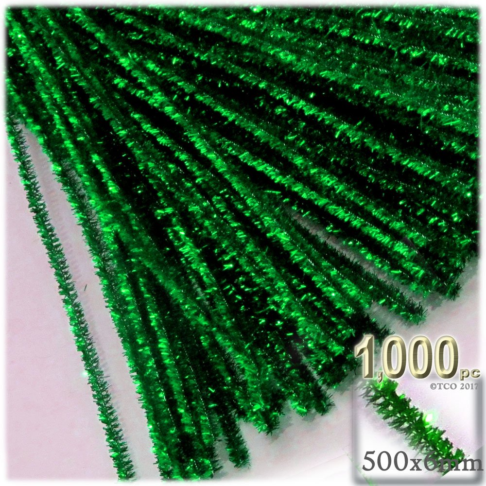 The Crafts Outlet Chenille Sparkly Stems, Pipe Cleaner, 20-in (50-cm), 1000-pc, Emerald Green by The Crafts Outlet
