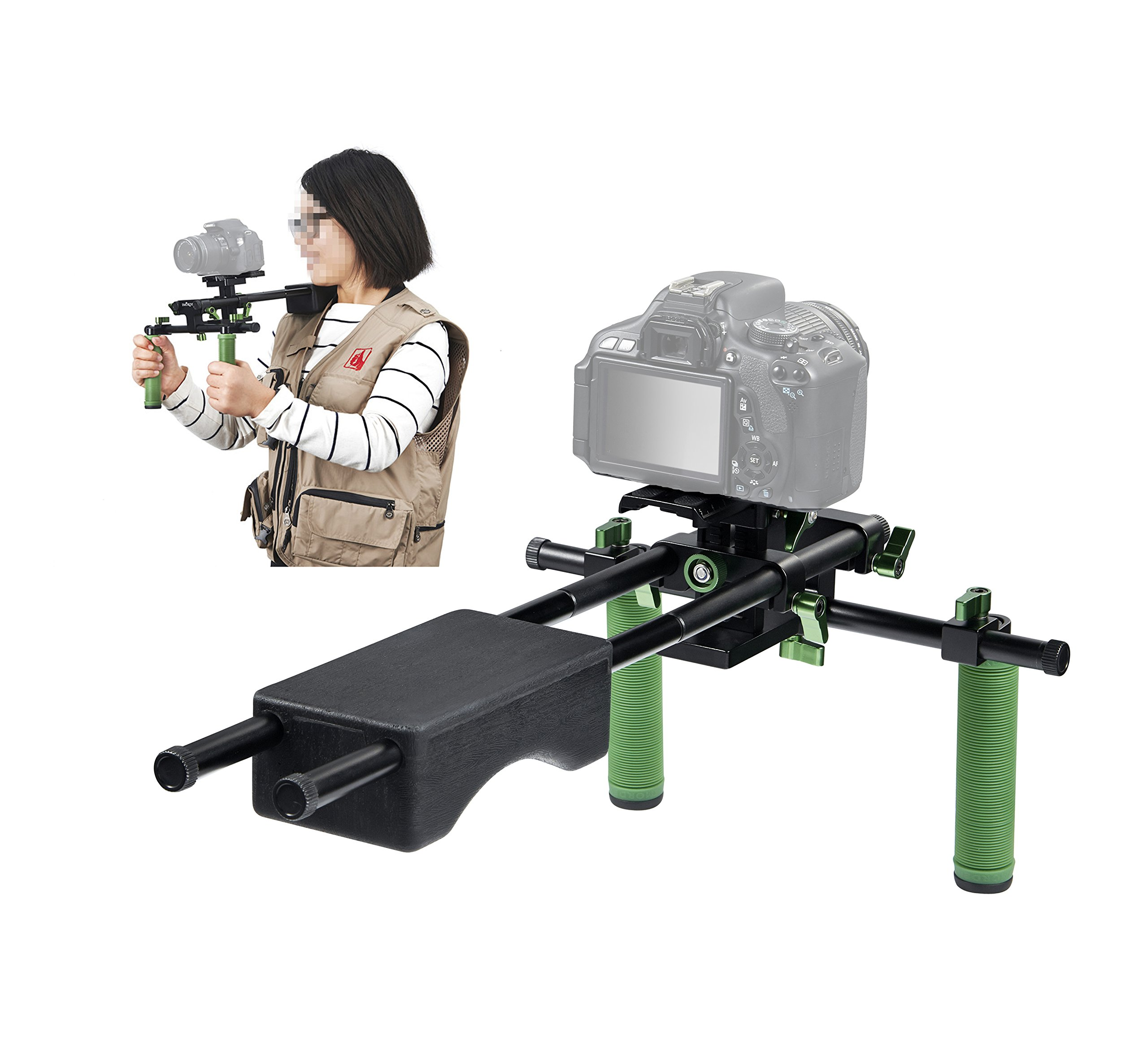 IMORDEN IR-04 Dual Grip Video Stabilization Shoulder Support Rig Filmaking Kit with 15mm Rods and Comfortable Shoulder Pad for BMPC, DSLR Sony Canon Nikon Cameras&Camcorders(up to 10kg/22lbs)