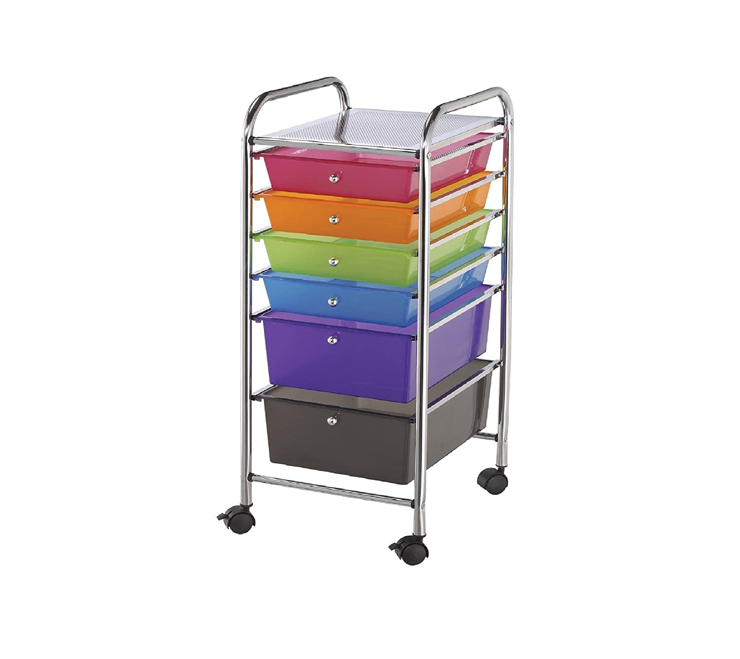 Blue Hills Studio SC6-SM Storage Cart with 6 Drawers 13-Inch by 32-Inch by 15-1/2-Inch, Smoke Notions - In Network