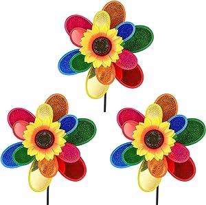 sampick Garden Wind Spinner, Sunflower Windmills Lawn Decor, 12 Inch Rainbow Pinwheels for Yard and Garden, Outdoor Lawn Ornaments Wind Spinner Yard Art(3PCS)