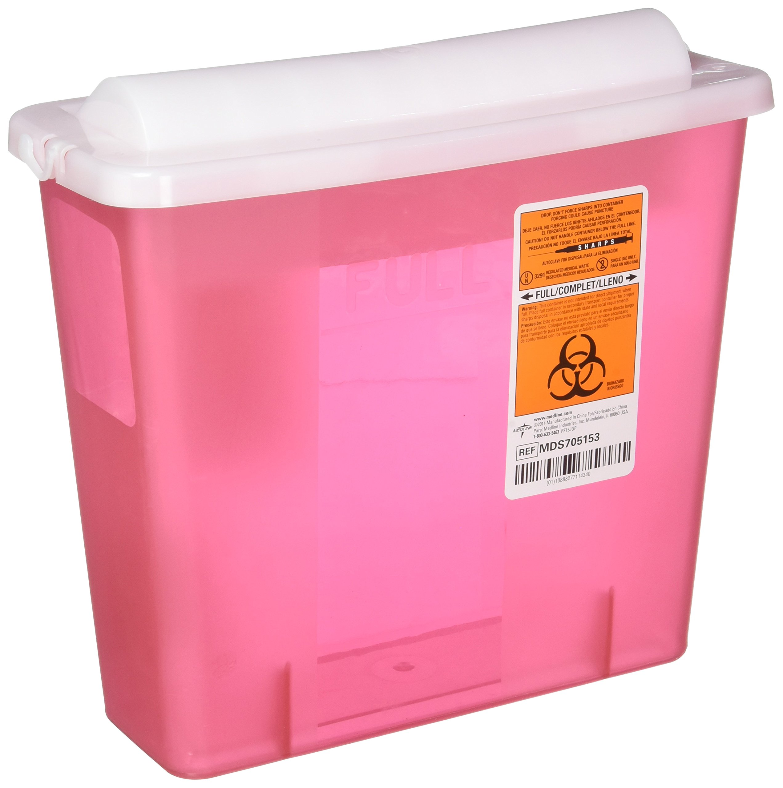 Sharps Disposal Unit, Sharps Container, 5 Quart, Red MDS705153- 1 Each by Medline (Image #1)