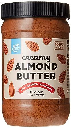 Mantequilla de almendra Happy Belly de la marca Amazon, 27 ...