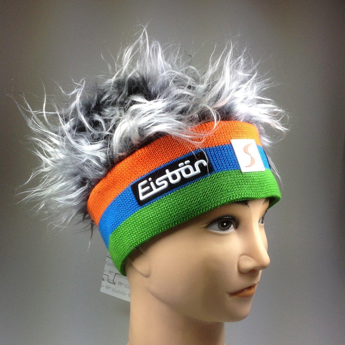 Original Eisbär Mütze Viva SP, grün, blau, orange mit silber/graue Haare