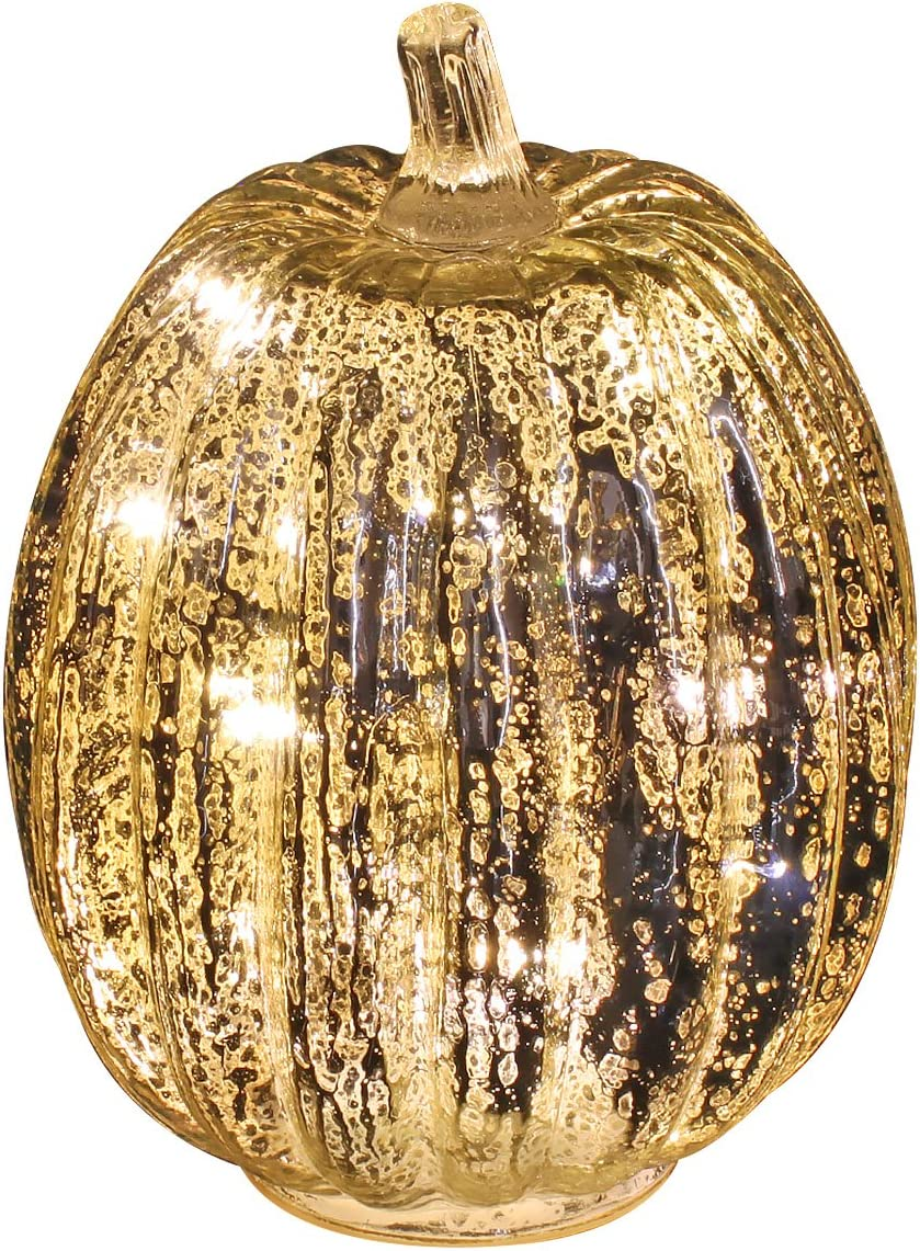 Mercury Glass Pumpkin Light with Timer for Halloween Pumpkin Decorations Fall and Thanksgiving Decor, Sliver,7.5 inches