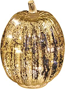 Mercury Glass Pumpkin Light with Timer for Halloween Pumpkin Decorations Fall Decor, Sliver,7.5 inches