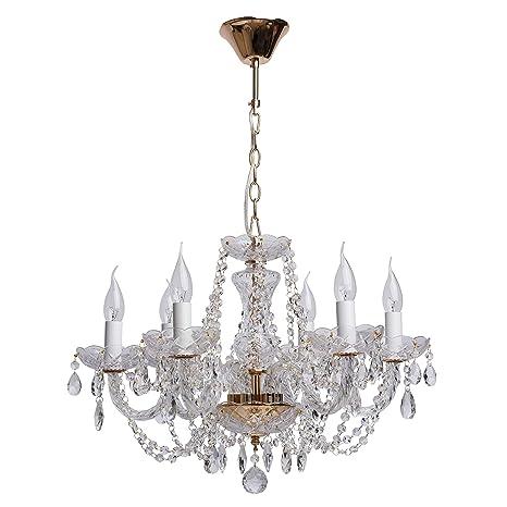 MW-Light 367012606 Lámpara Colgante, de Araña, de Latón, Dorada, Plafones en Forma de Velas, Cristales Transparentes, Gotas de Cristal, Para Sala, ...