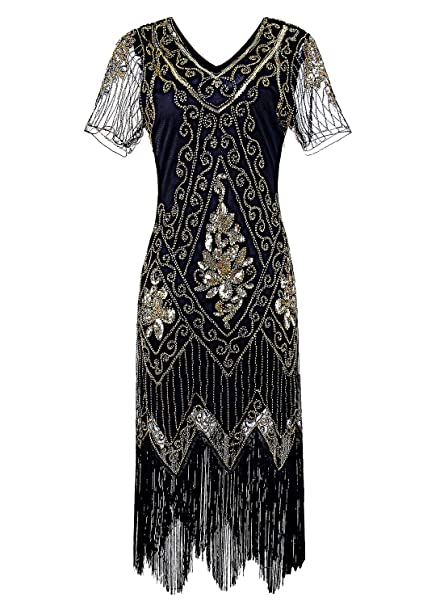 1920s Evening Dresses & Formal Gowns Women 1920s Flapper Dress Vintage - Sequin Fringed Gatsby Dresses Art Decor with Sleeves for Roaring 20s Party vintagepost $37.99 AT vintagedancer.com
