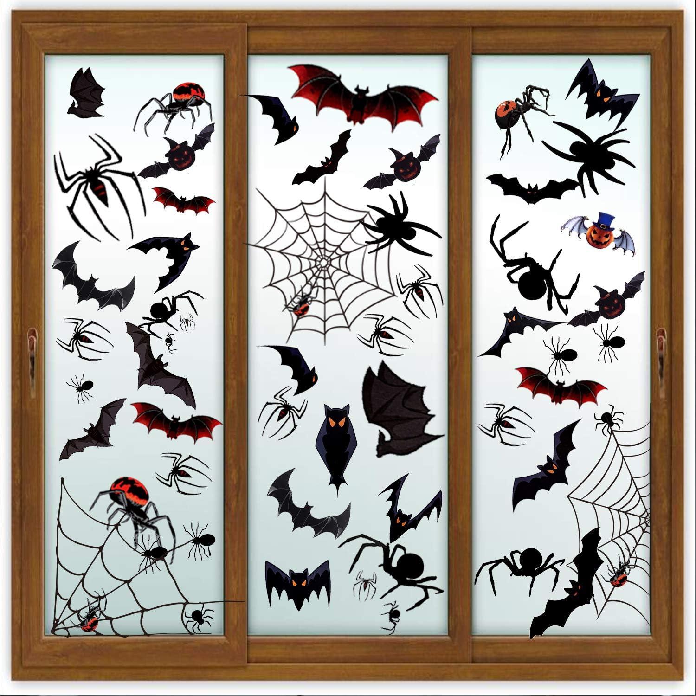 Halloween Decorations Window Stickers Clings - 184 PCS Halloween Window Treatments, 8 Sheets Bat Spider Wall Stickers 12 Pumpkin 3D Bats, Creepy Halloween Window Decor Party Supplies Indoor Outdoor