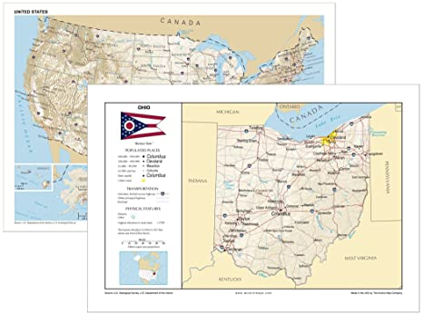 Amazoncom 13x19 Ohio And 13x19 United States General Reference - Ohio-in-the-us-map