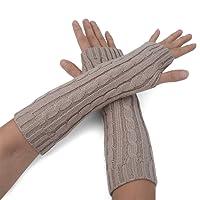 Zeltauto Women's Knitted Arm Warmers Long Fingerless Thumbhole Gloves Acrylic Fiber