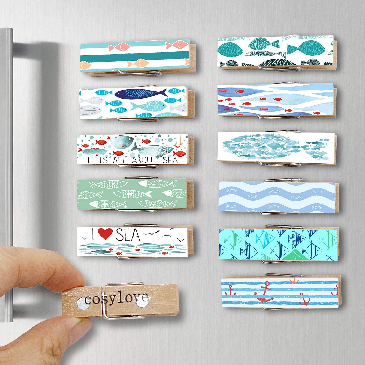 12pcs Refrigerator Magnet Clips by Cosylove-Decorative Magnetic Clips Made of Wood with Beautiful Patterns–Super Fridge Magnets for House Office Use - Display Photos,Memos, Lists, Calendars (Fish)