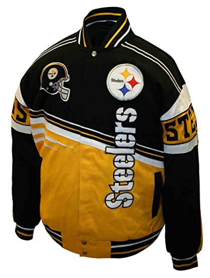 NFL Men s Pittsburgh Steelers 1st and 10 Cotton Twill Jacket (Black Gold 91c47ef01