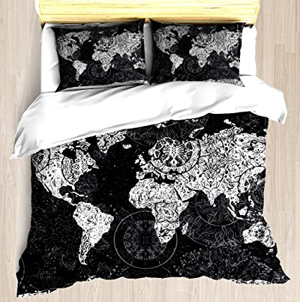 NTCBED World Map - Duvet Cover Set Soft Comforter Cover Pillowcase Bed Set  Unique Printed Floral Pattern Design Duvet Covers Blanket Cover Twin/XL ...