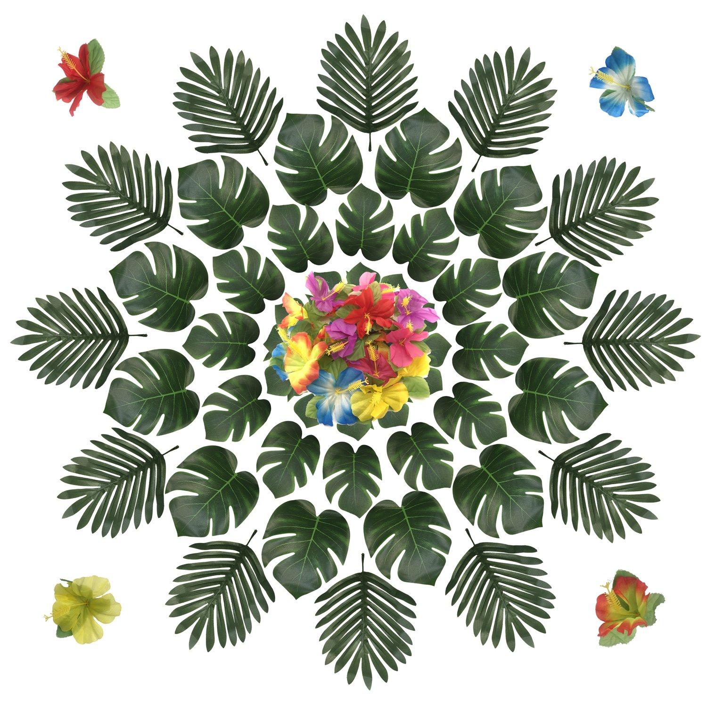 PietyDeko 96 Stü ck Simulation Hawaiian Hibiskus Blumen Hibiskusblü ten und Tropische Blä tter Deko Grü n Palme Hawaii Kunstpflanze Tischdeko fü r Hawaiianische Tisch Party Dschungel Strand Luau Thema