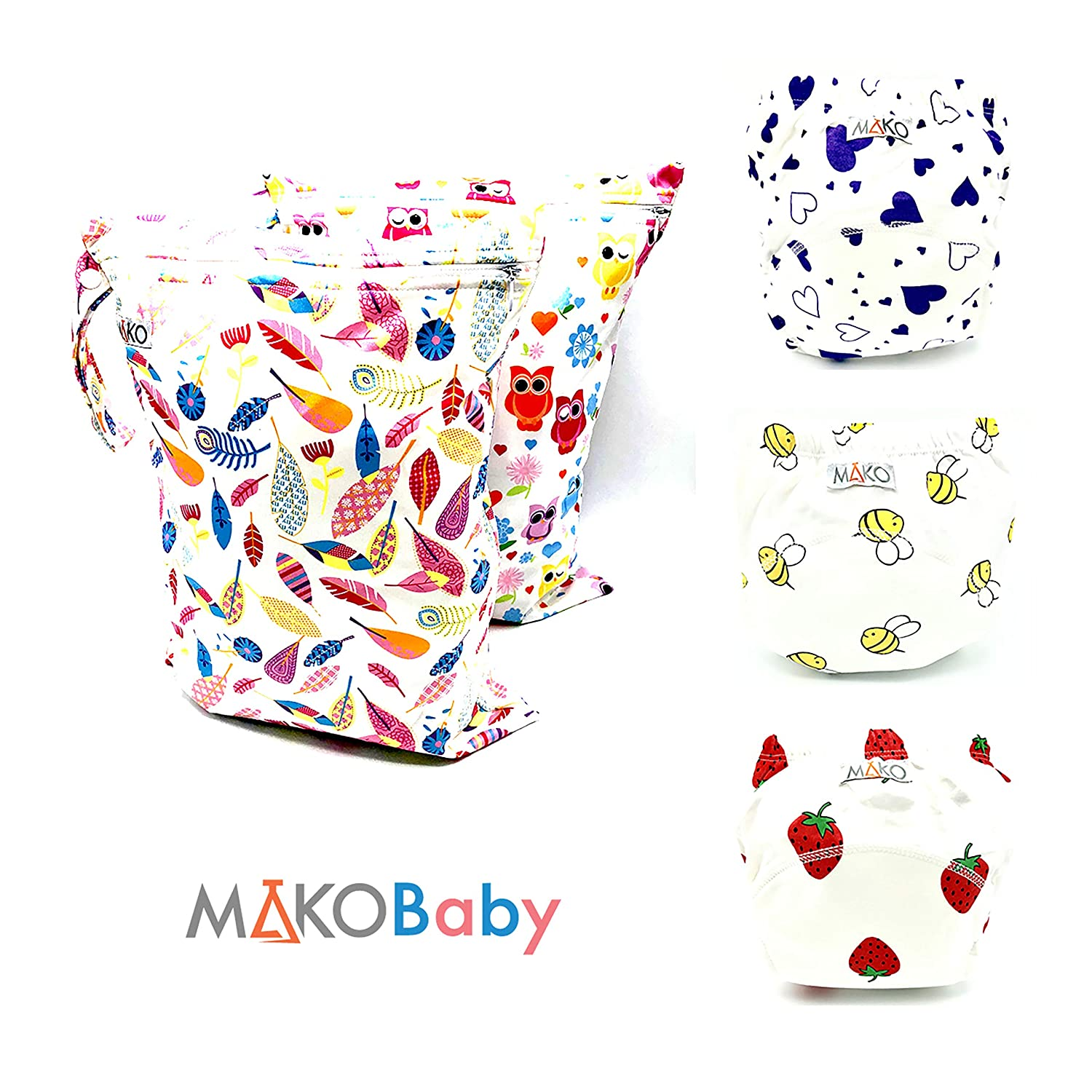LabsByMAKO 3 Toddler Reusable Training Pants + 2 Waterproof Washable Wet Bags Set