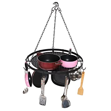 Amazon.com: Round Ceiling Mounted Hanging Metal Kitchen Pots and Pans Rack with 7 Removable Hooks, Black: Kitchen & Dining