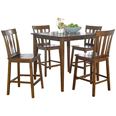 Contemporary Design Durable Wood-Constructed Mission Style Table and Chairs Set (5-Piece - Cherry Finish + Free Furniture Polish)